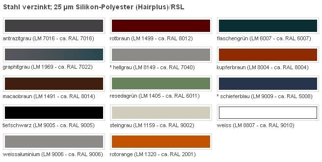 dachpfanne luxmetall farben silikon